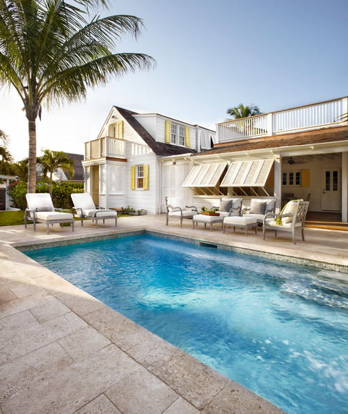 Yellow and White Cottage with Pool