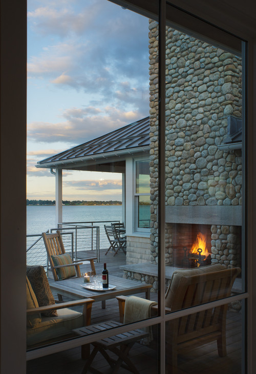 Waterfront Patio with Outdoor Stone Fireplace