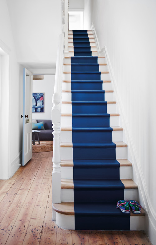 Navy Blue Painted Runner on White Staircase