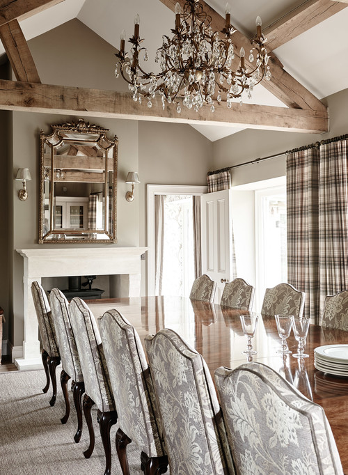 Traditional Dining Room in Brown and Neutral Tones