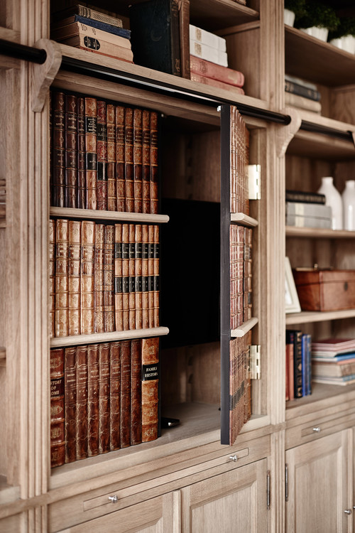 Clever Bookcase Door Treatment