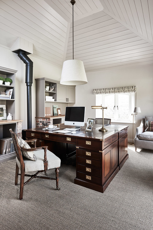 Countryside Retreat Office with Large Desk and Pendant Light