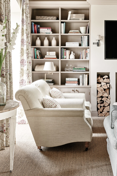 Countryside Retreat Living Room with Bookcase and Neutral Colors