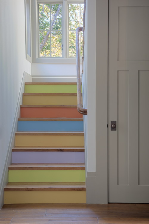 Painted Staircase in Pastel Tones