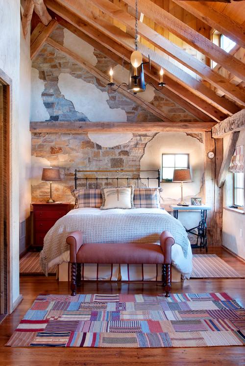Country Style Bedroom with Iron Bed and Brick Wall
