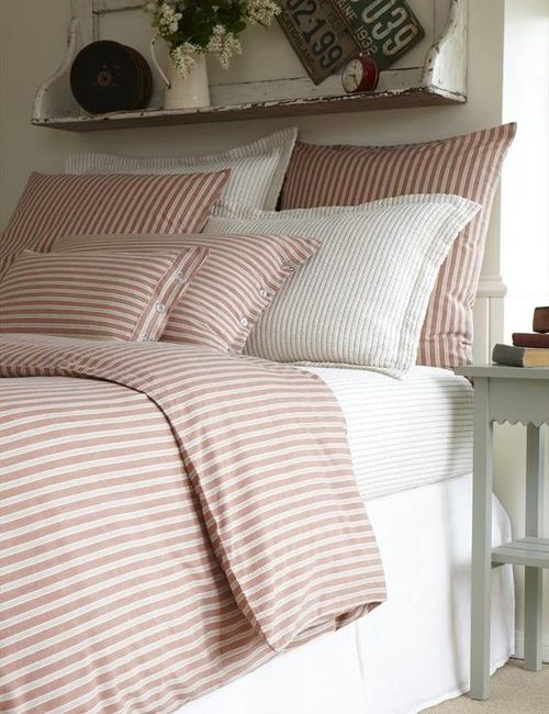Red Ticking Stripe Bedding