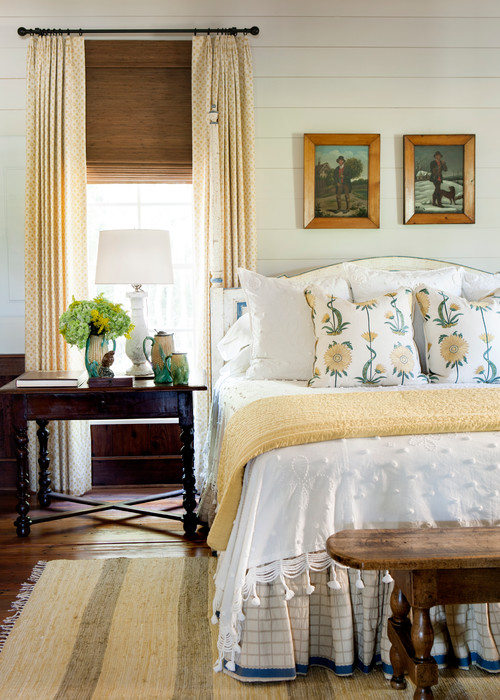 Traditional Bedroom in Yellow and Blue