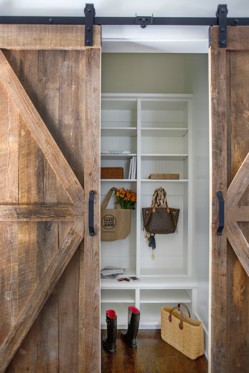 Barn Doors leading to mud room