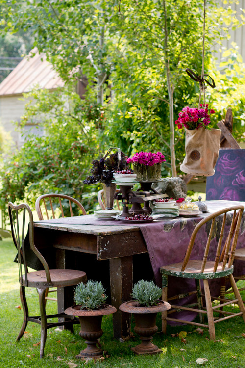 Outdoor dining in a country garden