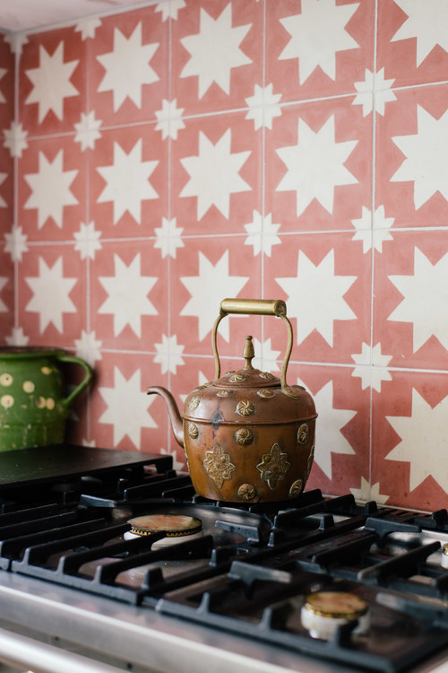 Colorful Kitchen Tile in Red and White