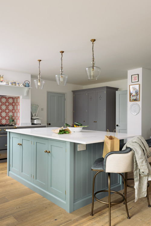 Blue Kitchen Island in Gray and White Kitchen