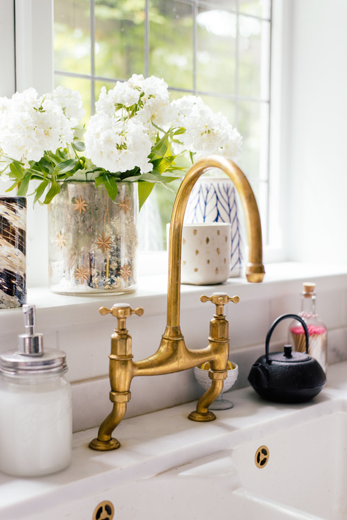 Quality Gold Faucet in Country Kitchen