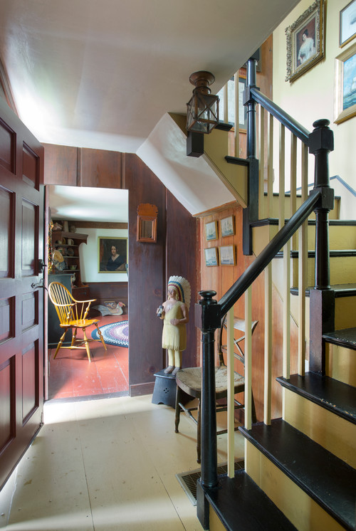 Colonial Home Painted Staircase in Mustard Yellow
