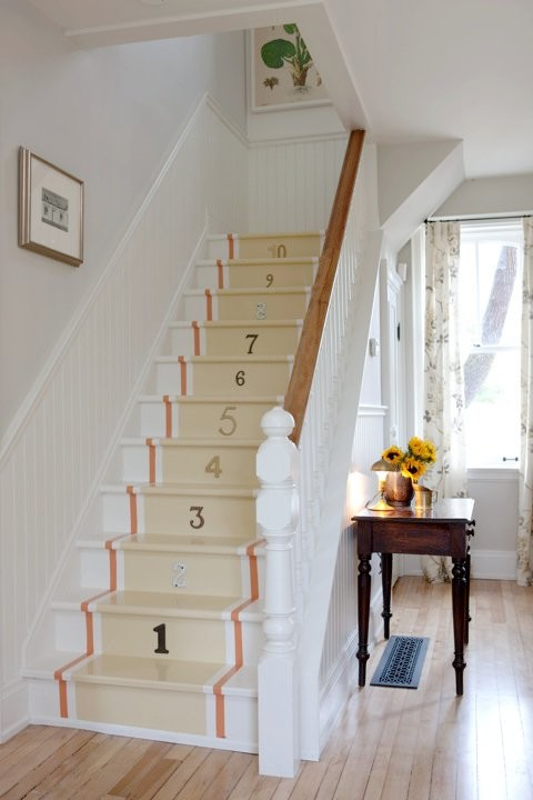Painted Staircase with Runner and Numbers