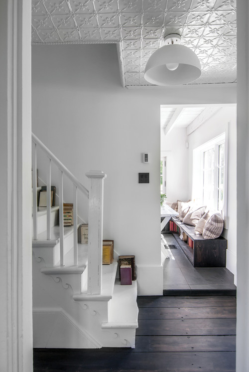 All White Scandinavian Style Stairway