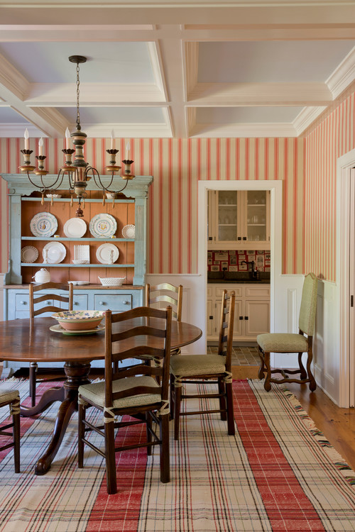 Country Dining Room with Red Ticking Stripe Wallpaper