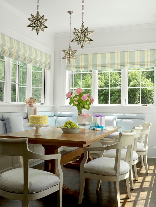 Traditional Dining Room with Striped Roman Shades