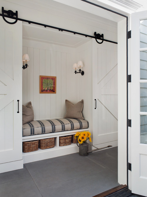 Cozy Reading Nook with Sliding Barn Doors