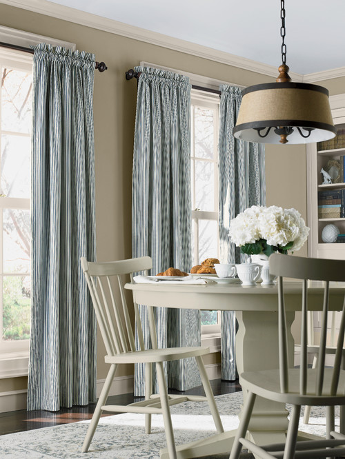 Country Style Dining Room with Blue and White Stripe Curtains
