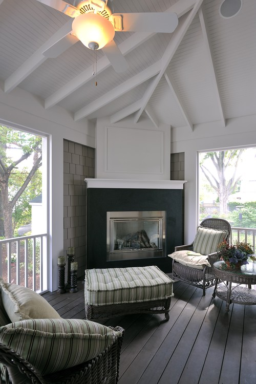 Porch with Fireplace and Ticking Stripe Cushions