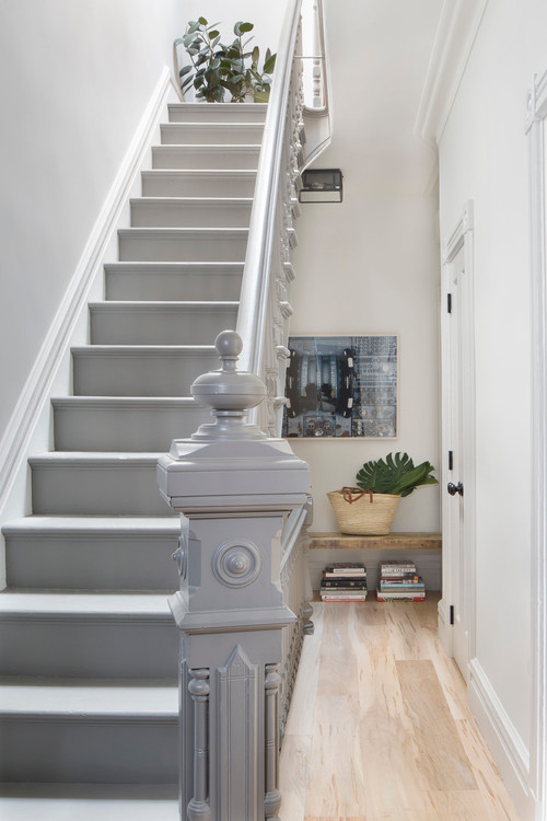 Light Gray Painted Victorian Staircase