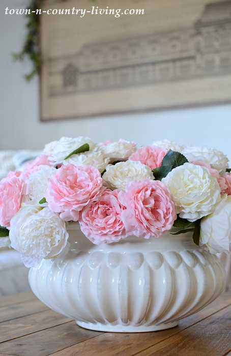 White Bowl of Roses on Coffee Table
