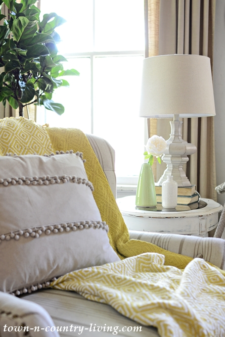 Comfy Tufted and Striped Chair from Pier 1