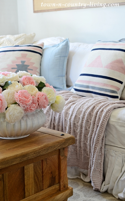 Pink and Blue Aztec Pillows with Pink and Blue Throws