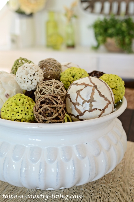 Decorative Nature Spheres in White Bowl