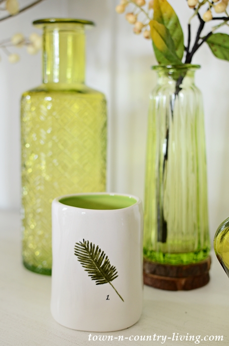 Apple Green Vases in a Simple Vignette