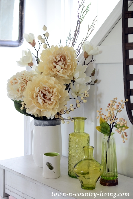Creamy Faux Flowers and Spring Green Vases