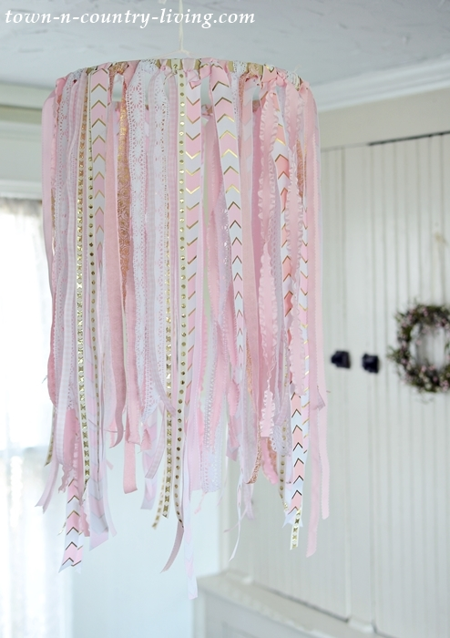 DIY Ribbon Chandelier in Pink and White