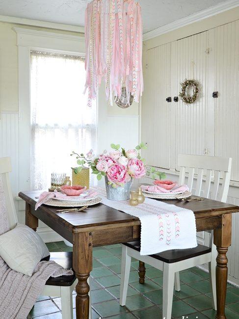 Easy DIY Ribbon Chandelier in a Farmhouse Breakfast Nook