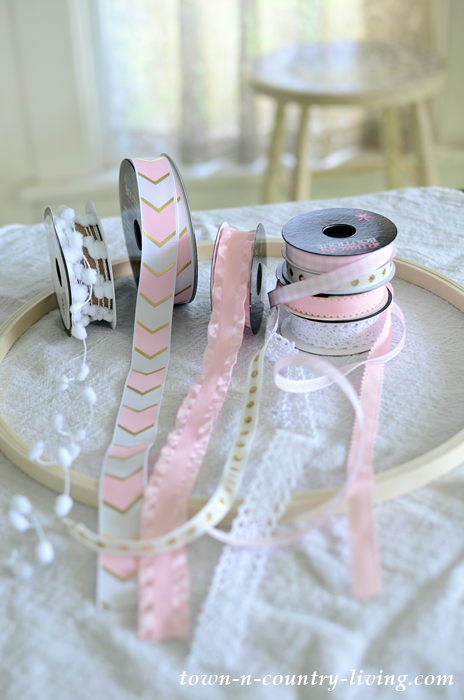 Supplies to Make DIY Ribbon Chandelier