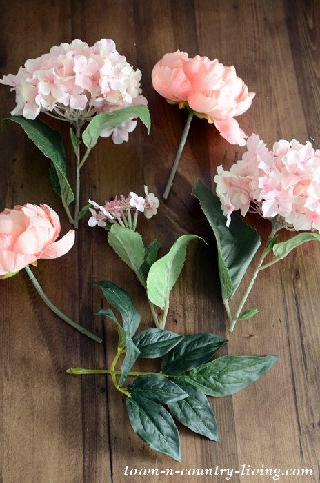 Faux pink flowers for DIY summer wreath
