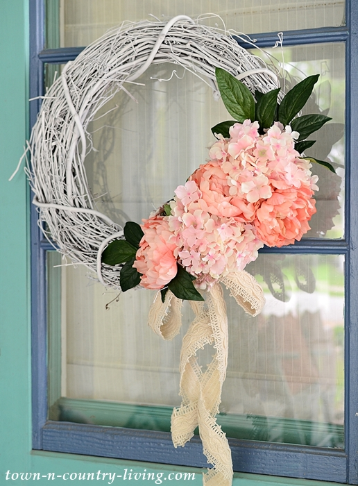 Easy DIY Summer Floral Wreath with Hydrangeas and Peonies