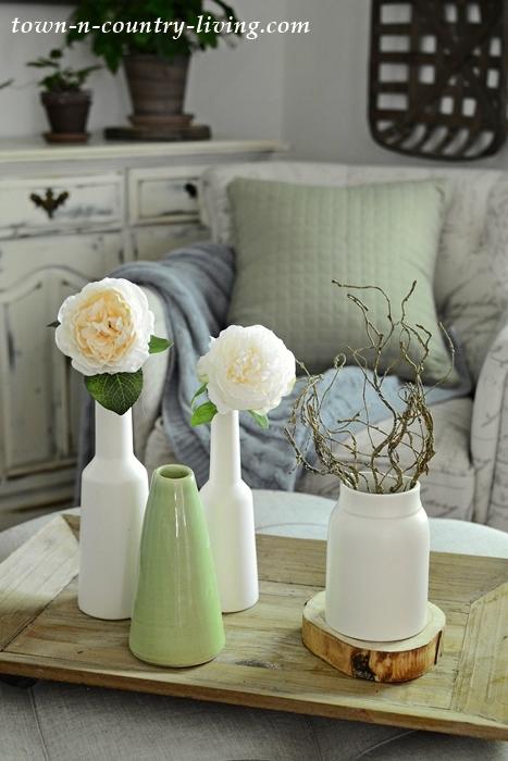 White and Green Vase Vignette