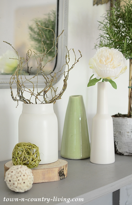 Green and White Vases for an Organic Summer Mantel