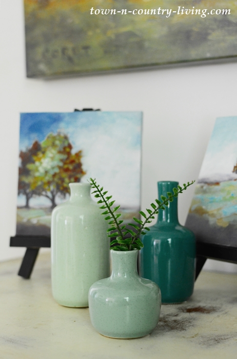Summer Vignette with Mini Oil Painting and Green-Blue Vases