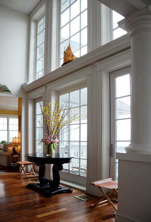 Wall of Mullioned Windows in Oceanfront Home