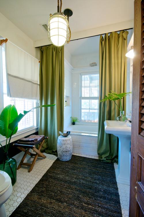 Tropical Style Green Bathroom