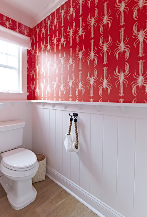 Red and White Lobster Wallpaper in Beach Bathroom