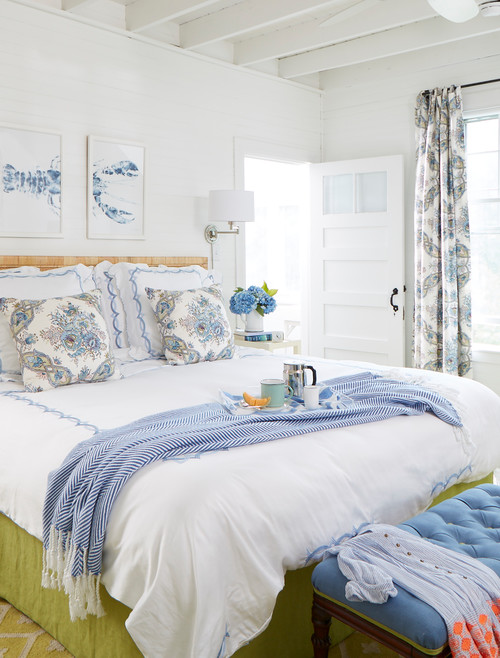 White Master Bedroom with Blue and Apple Green Accents
