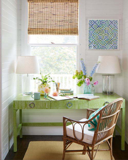 Green Desk in Cozy Office Nook