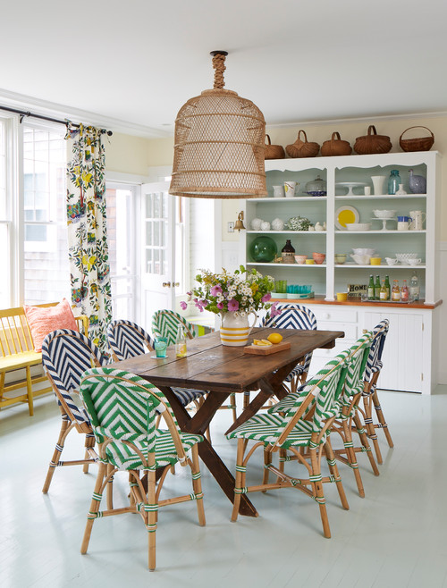 Colorful Beach Cottage Dining Room with Farmhouse Table and Striped Chairs