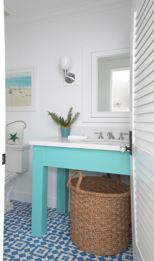 Aqua and White Beach Style Bathroom