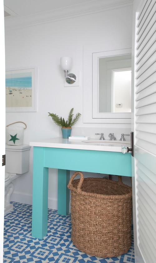 Aqua and White Beach Style Bathroom
