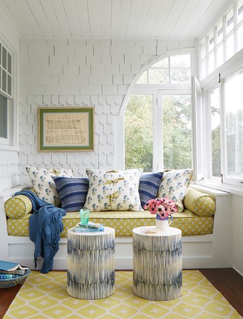 Beach Style Sun Room with Playful Patterns in Blue and Yellow