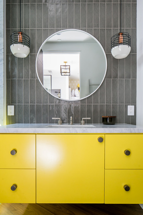 Bright Yellow and Gray Bathroom
