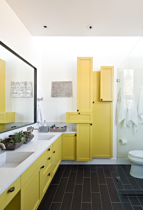 Yellow and White Contemporary Bathroom